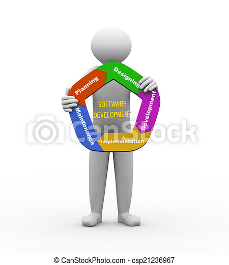 3d man with software development chart 3d illustration of stock rh canstockphoto com
