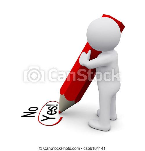 3D man writing yes - csp6184141