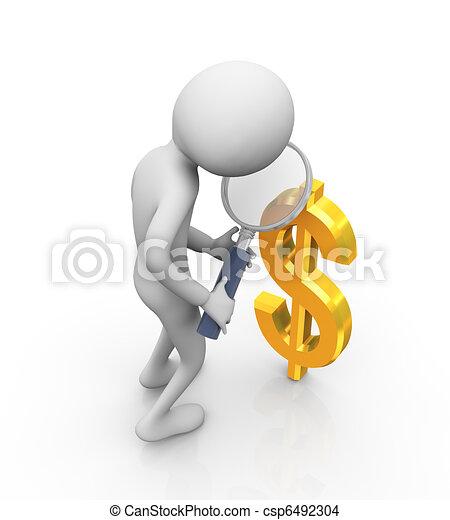3d man zooming dollar sign - csp6492304