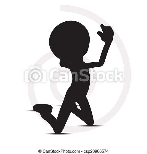 3d man's prayer silhouette - csp20966574