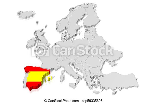 3d Map Of Spain.3d Map Flag Spain