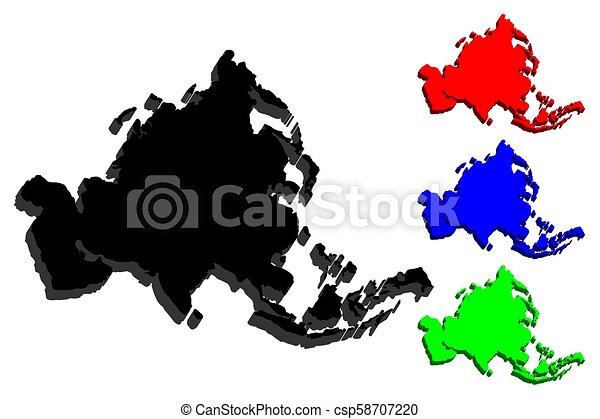 3D map of Asia - csp58707220