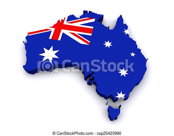 australia 3d map vector