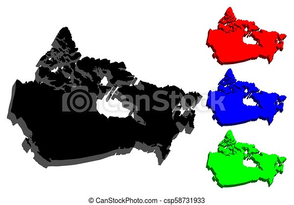 Map Of Canada Eps.3d Map Of Canada Black Blue And Green Vector Illustration