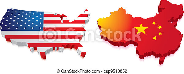 3D Map of China and US with Flag - csp9510852