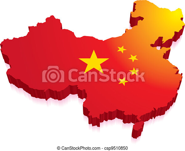 3D Map of China with Flag - csp9510850