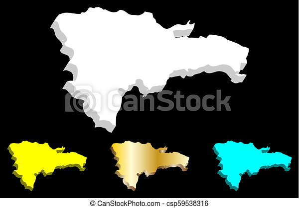 3d Map Of Dominican Republic Hispaniola White Yellow Blue And