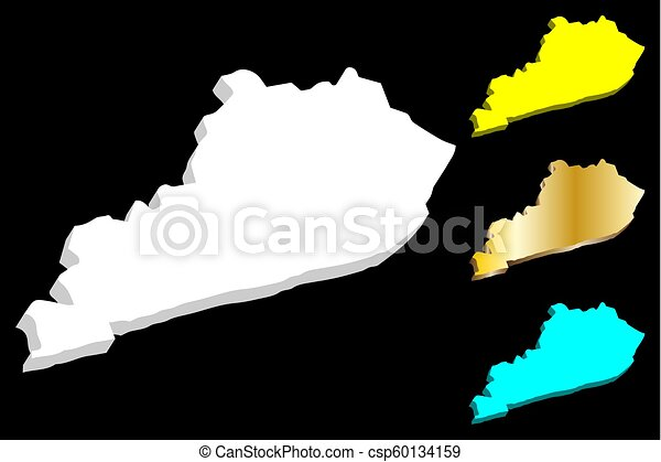 3d map of kentucky (united states of america, commonwealth of ...