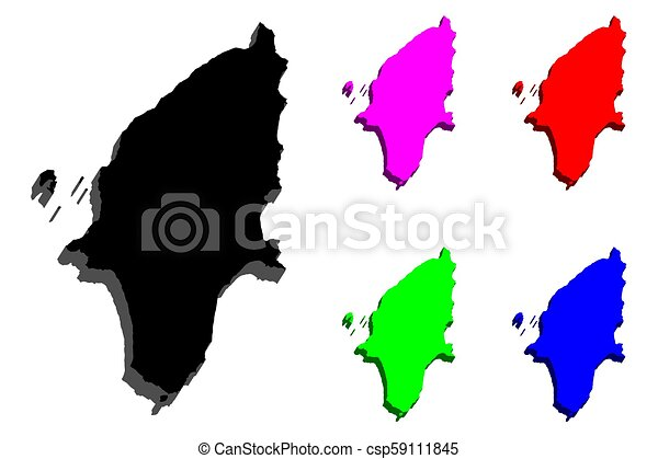 3d map of rhodes island of greece black red purple blue and rh canstockphoto com Greece Outline Map greece map clipart black and white