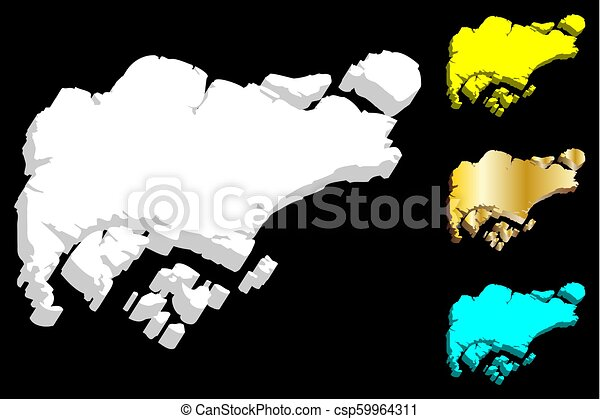 3d map of singapore (republic of singapore) - white, yellow, blue ...