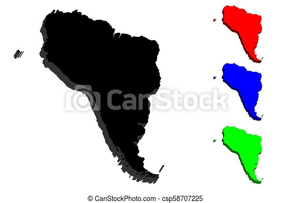 Map Of America 3d Vector.3d Map Of South America