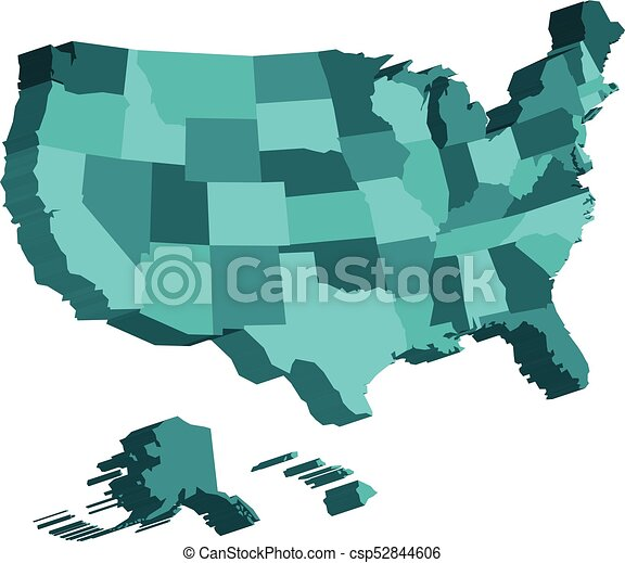 Map Of America Clipart.3d Map Of United States Of America Usa Divided Into Federal States Vector Illustration