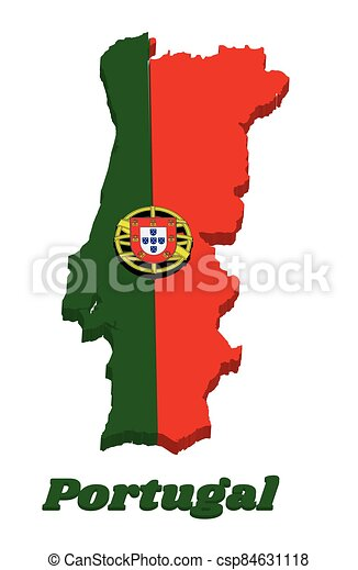 3d Map outline and flag of Portuguese, a 2:3 vertically striped bicolor of green and red, with coat of arms of Portugal centred over the color boundary. - csp84631118