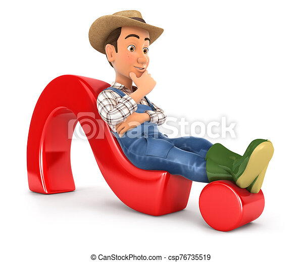 3d, marca, acostado, granjero, pregunta - csp76735519