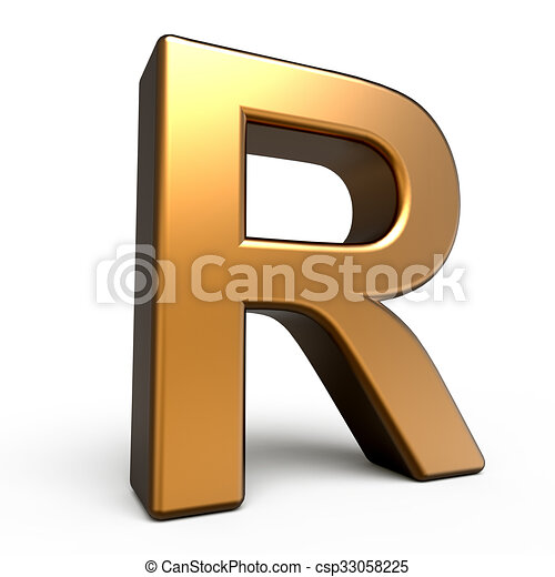 3d matte gold letter r isolated on white background clip art 3d matte gold letter r csp33058225 thecheapjerseys Images