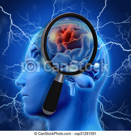 3D medical background with magnifying glass examining brain - csp31291591