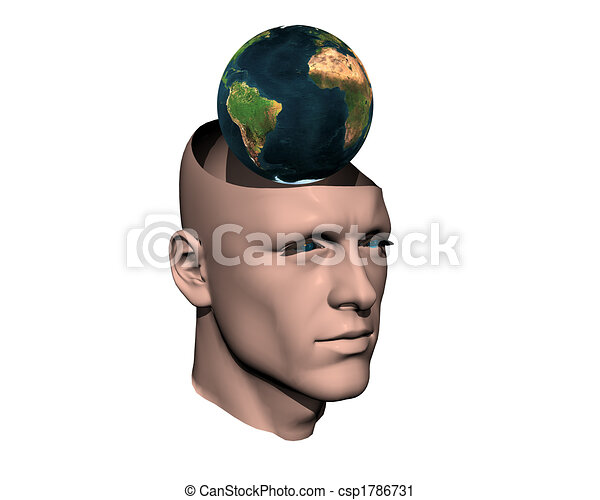 3D men cracked head with earth  - csp1786731