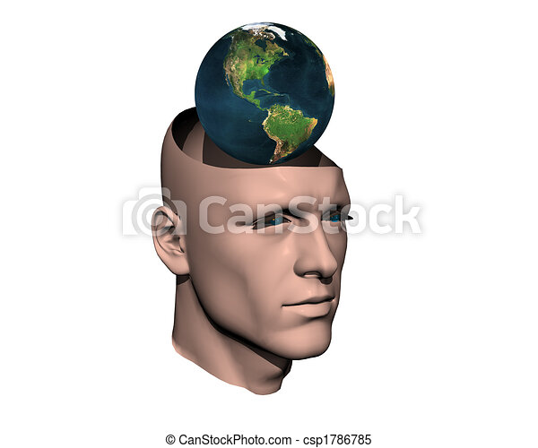 3D men cracked head with earth  - csp1786785