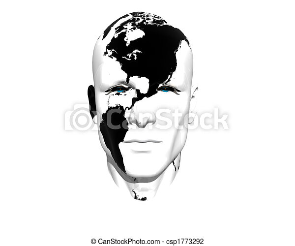 3D men face with earth texture - csp1773292