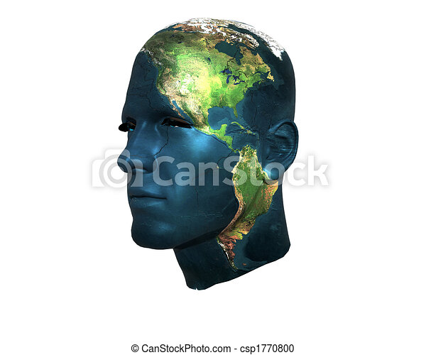 3D men face with earth texture - csp1770800