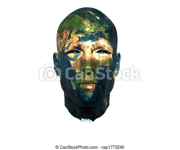 3D men face with earth texture - csp1773240