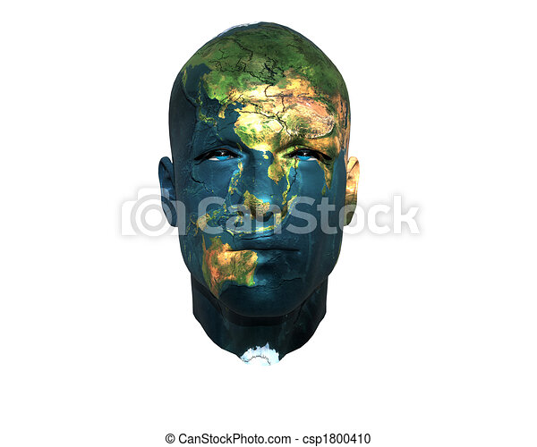 3D men face with earth texture - csp1800410