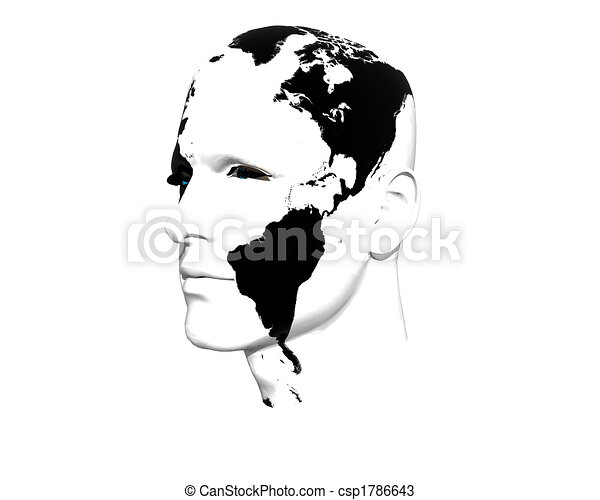 3D men face with earth texture - csp1786643