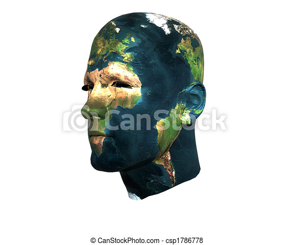3D men face with earth texture - csp1786778
