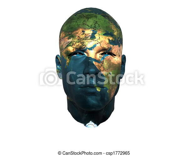 3D men face with earth texture - csp1772965
