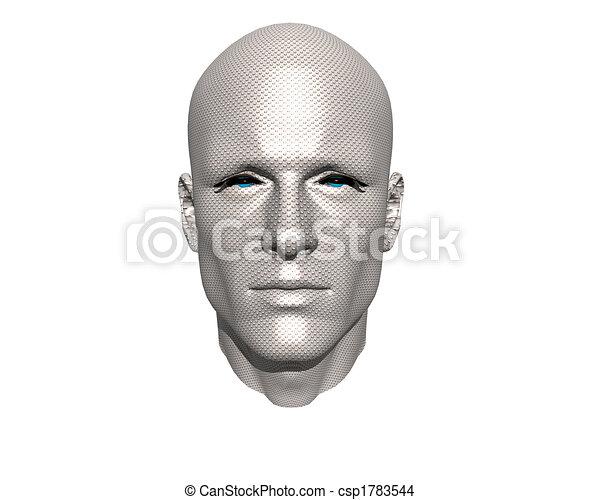 3D men face with texture - csp1783544