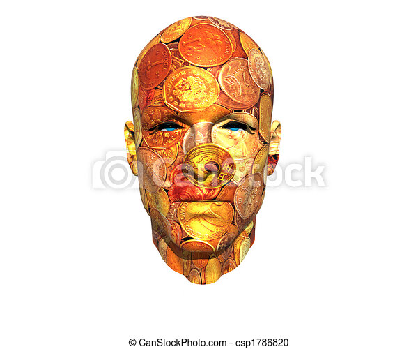 3D men face with texture - csp1786820