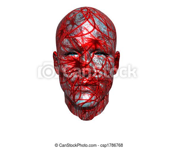 3D men face with texture - csp1786768
