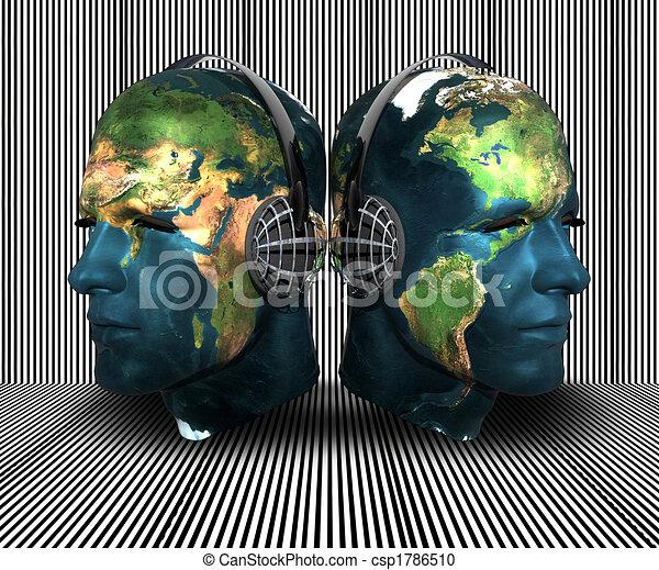 3D men head with earth texture - csp1786510