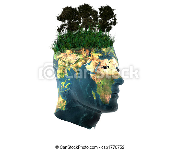 3D men head with earth texture isolated on white - csp1770752