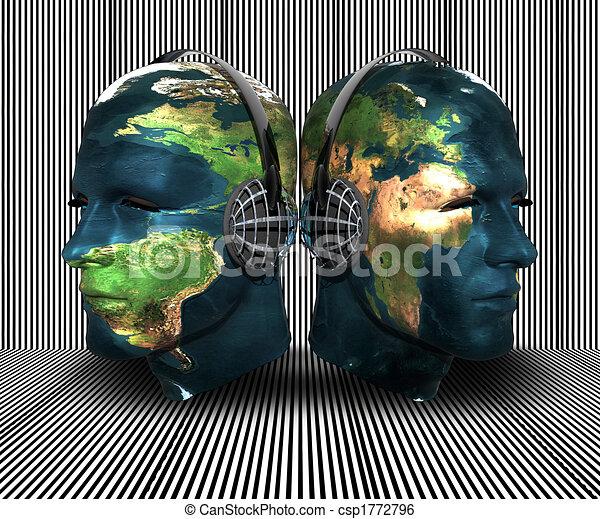 3D men head with earth texture - csp1772796