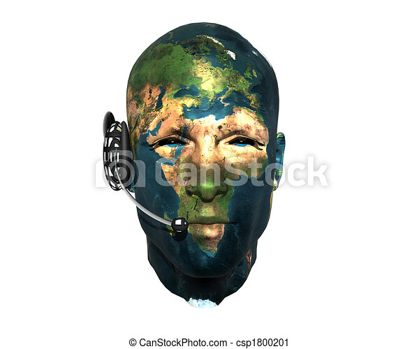 3D men head with earth texture with headphone - csp1800201