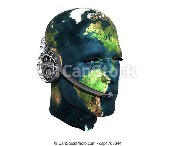 3D men head with earth texture with headphone - csp1783044