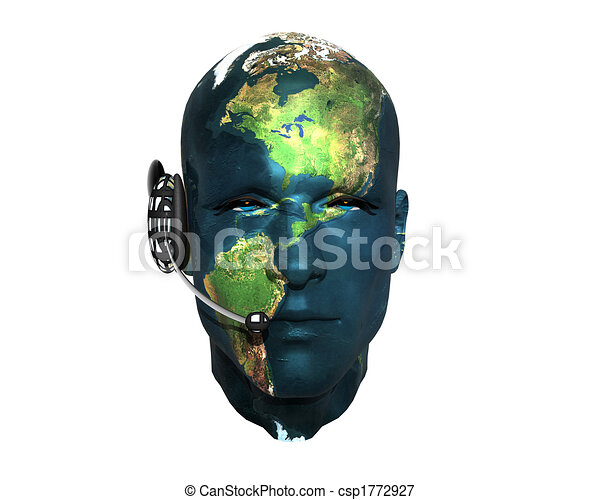 3D men head with earth texture with headphone - csp1772927
