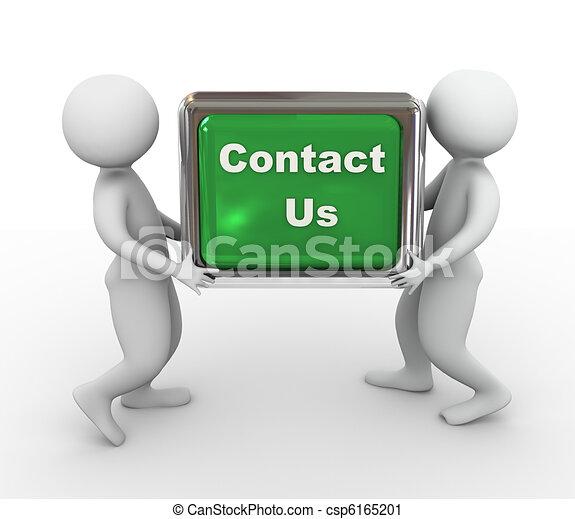 3d men holding  'contact us' button - csp6165201