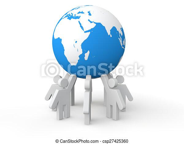 3D men holding earth globe - csp27425360