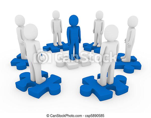 3d men puzzle circle - csp5890585