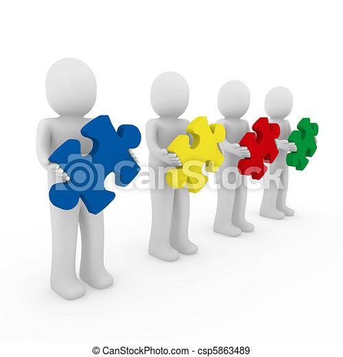 3d men puzzle teamwork - csp5863489