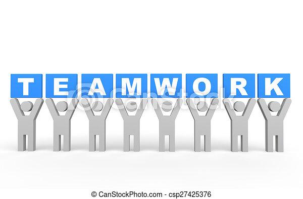 3d men teamwork concept - csp27425376