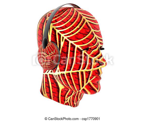 3D men textured face with headphone - csp1770901