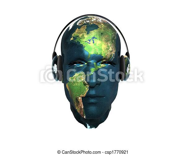 3D men textured face with headphone - csp1770921