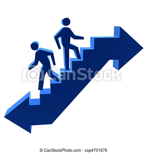 3D Men Walking Up & Down The Stairs - csp4701676