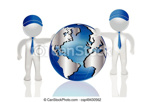 3d Men With World Map Globe Logo 3d Men With World Map Globe Vector