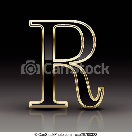 3d Metallic Black Letter R Isolated On Black Background