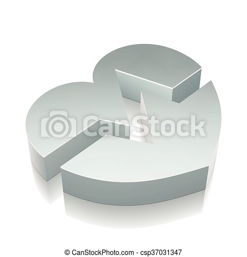 3d metallic Heart icon with reflection, vector illustration. - csp37031347