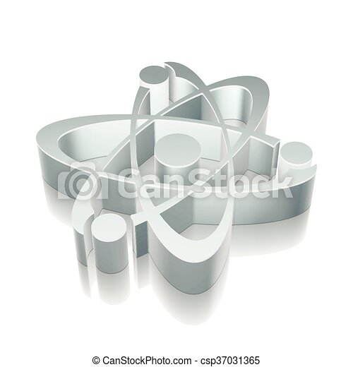 3d metallic Molecule icon with reflection, vector illustration. - csp37031365